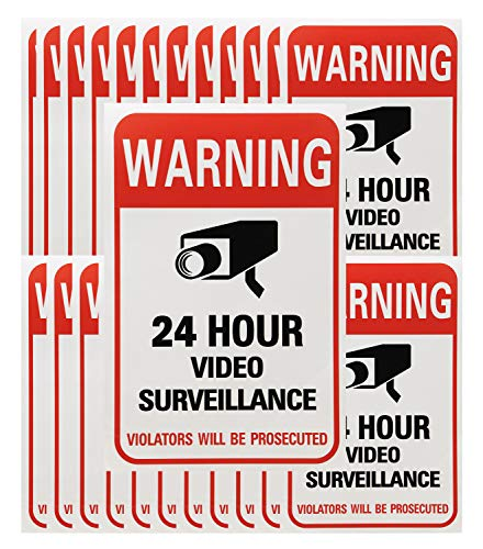 (Tupalizy 24 Hours Video Camera Surveillance Sign Stickers Decals Self-Adhesive Home Business Alarm System Security Warning Stickers for Window Wall Door, 4 x 6 Inch, 20PCS)