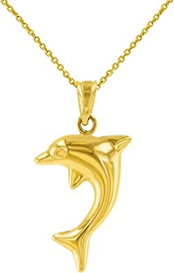 14K Yellow Gold Dolphin Charm Pendant For Necklace or Chain