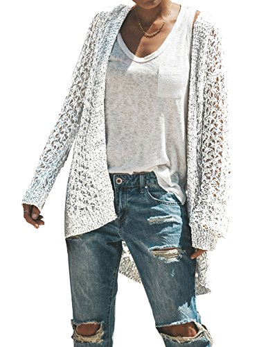 - Ivay Womens Long Shrug Cotton Cardigan Lightweight Open Front Sweater (White, X-Large)