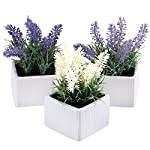 MyGift-Set-of-3-Assorted-Color-Artificial-Lavender-Flower-Plants-in-White-Textured-Ceramic-Pots
