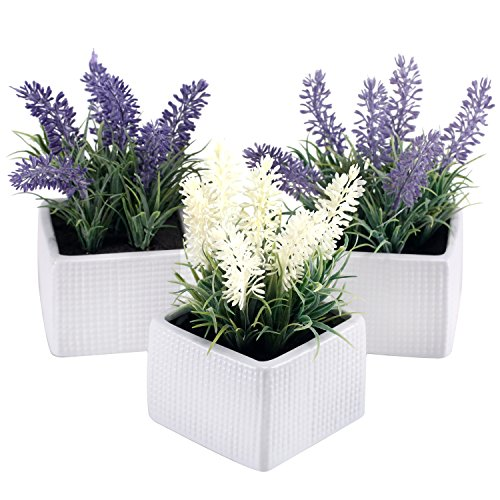 MyGift Set of 3 Assorted Color Artificial Lavender Flower Plants in White Textured Ceramic Pots ()