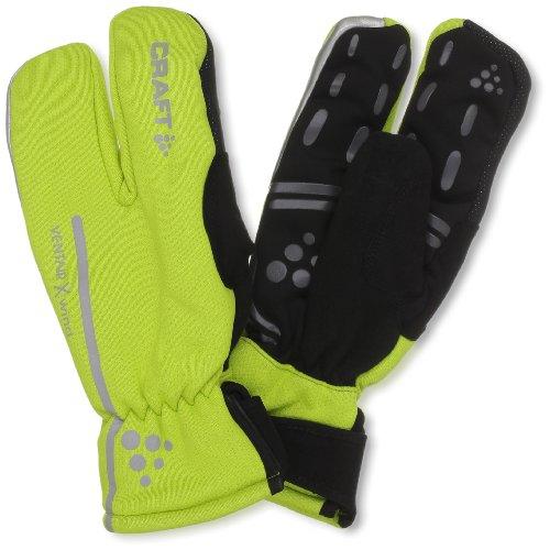 Craft Siberian Split Finger Wind and Waterproof Bike Glove, Neon Yellow, Large
