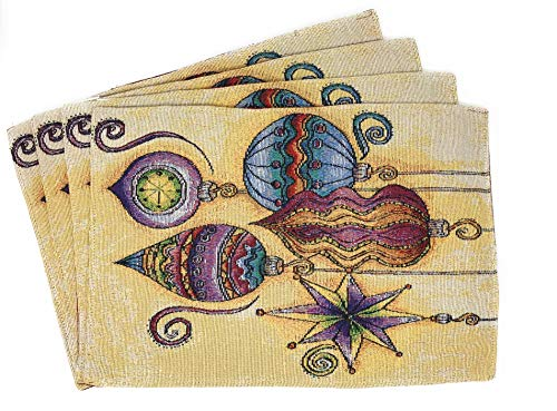 """DaDa Bedding Bohemian Ornaments Placemats - Set of 4 Festive Christmas Holiday Tapestry Decor - Cotton Linen Woven Dining Table Mats - 13"""" x 19"""" (14916)"""