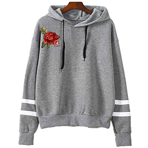 - Women's Floral Striped Long Sleeve Pullover Hoodies Grey Asian 3XL