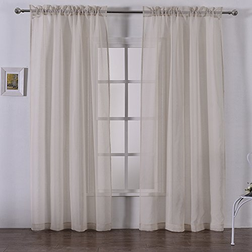 DWCN Beige Faux Linen Sheer Curtains Voile for Bedroom Set of 2 Panels Rod Pocket Curtain 52 x 84 Inch Long