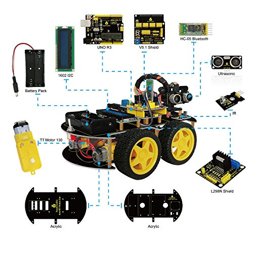 4WD Bluetooth Multi-functional DIY kit for Arduino Atmega-328P by Aigh Auality shop