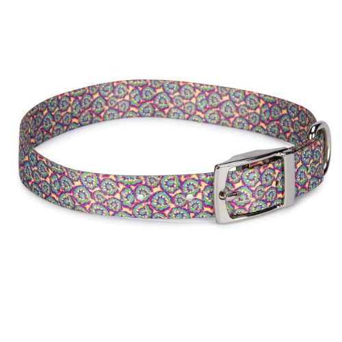 Casual Canine Polyester Starburst Tie Dye Dog Collar, 18-22-Inch, Yellow