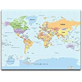 "wall26® - World Map Wall Decal Poster w/ Marker, Peel and Stick, Draw & Erase - 24""x36"""
