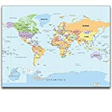 wall26® – World Map Wall Decal Poster w/ Marker, Peel and Stick, Draw & Erase – 24″x36″ Picture
