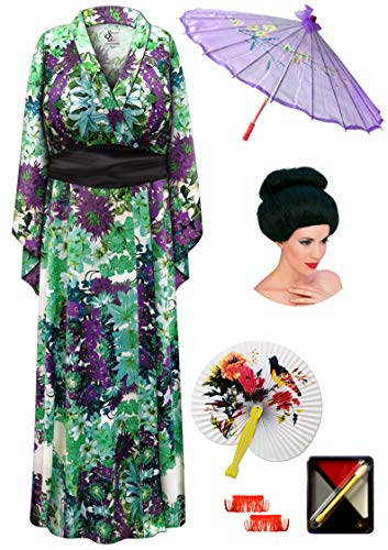 Satiny Floral Geisha Robe Plus Size Costume - Deluxe Black Bun Wig Kit 1x/2x]()