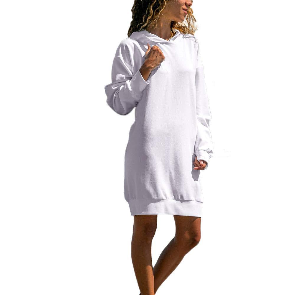 TIREOW Damen Frauen Lange Ärmel Solide Lässige Kapuze Sweatshirt Pullover Top Bluse