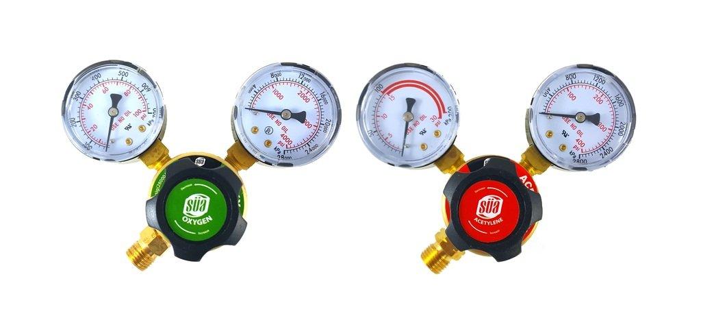 SÜA - Oxygen and Acetylene Regulators Welding Gas Gauges -Pair - Rear Entry - LDP series