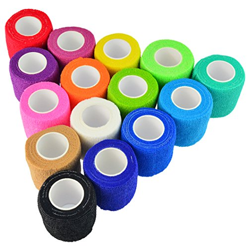 (Wobe 15 Pack Self-Adhesive Cohesive Wrap Bandage Tape, Adhesive Bandage Wrap Stretch Self-Adherent Tape Elastic Non-Woven Bandage Rolls Assorted Colors (5 Yards Each, 2 inches) for Sports Wrist)