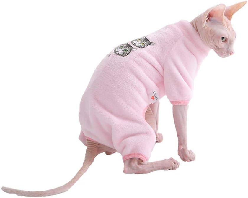 HCYD Sphinx Cat Invierno algodón Chaqueta Rosa Gato Ropa cálida bebé Gato Ropa, Rosa, S