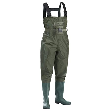 Kingdom Chest Waders Waterproof, Fishing Waders for Men with Boots, Nylon and PVC Insulated Material, Dark Green