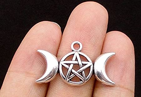 Wholesale Lot of 6 Mini Silver Tone Triple Moon Goddess Charms Pendants Mother Maiden Crone Phases Of The Moon
