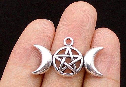 - 40pcs Triple Moon Charms, Goddess Magic Wiccan Dome Pendants 30x17mm