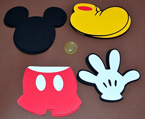 "Mickey Mouse themed set of 20 3"" Die cuts great for favor tags and scrapbooking."
