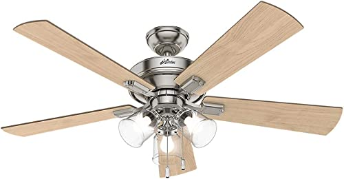 Hunter 54206 Transitional 52 Ceiling Fan from Crestfield collection in Pwt, Nckl, B S, Slvr. finish, Brushed Nickel