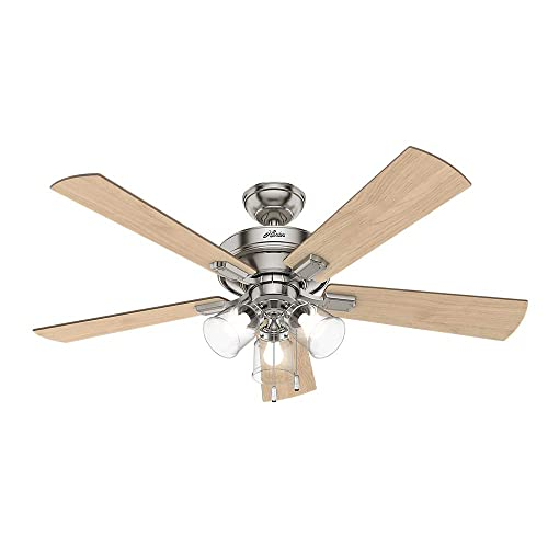 Hunter Indoor Ceiling Fan, with pull chain control – Crestfield 52 inch, Brushed Nickel, 54206
