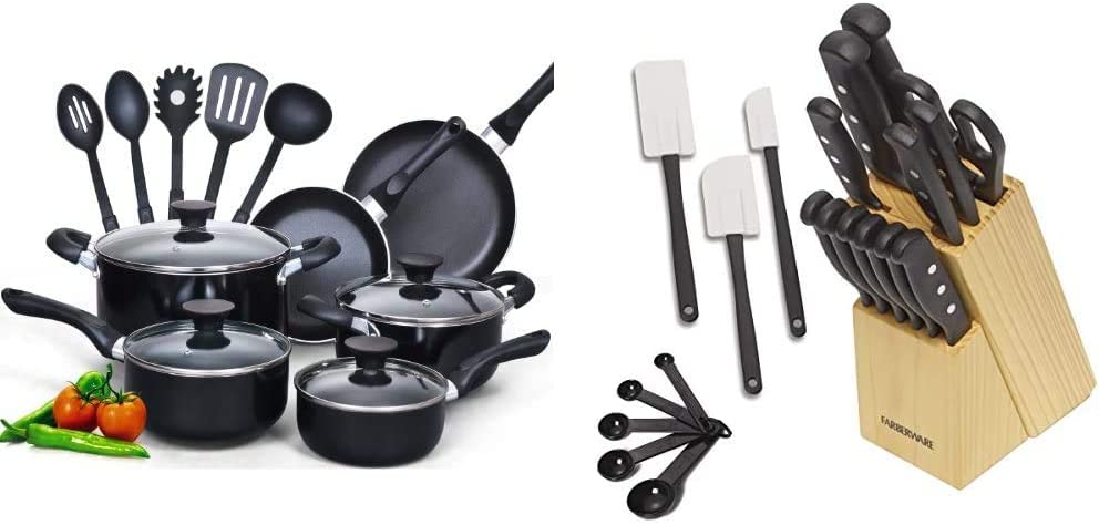Cook N Home 15-Piece Nonstick Stay Cool Handle Cookware Set, Black & Farberware 5152501 22-Piece Never Needs Sharpening Triple Rivet High-Carbon Stainless Steel Cutlery Set, Assorted