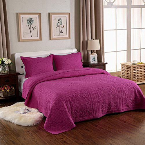 Rose Queen Quilt (3-Piece Comforter Set Embroidered Cotton Diamond Floral Agnle Bedspread Patchwork Quilt Sets Queen Rose)