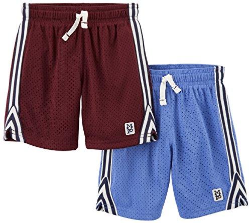 Carter's Boys' Big' 2-Pack Mesh Shorts, Blue/Burgandy, 6