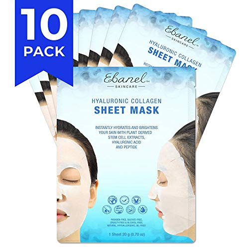 Ebanel 10 Pack Korean Collagen Face Mask Sheet, Deep Moisturizing Instant Hydrating Hyaluronic Acid Facial Masks for Skin Brightening Anti-Aging Anti-Wrinkle with Stem Cell Extracts and - Hydrogel Silicone