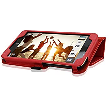 Acdream Asus Memo Pad 7 Lte Case, Premium Pu Leather Smart Cover Case For At&t Asus Memo Pad 7 Lte Gophone Prepaid Tablet Me375cl, Red 3