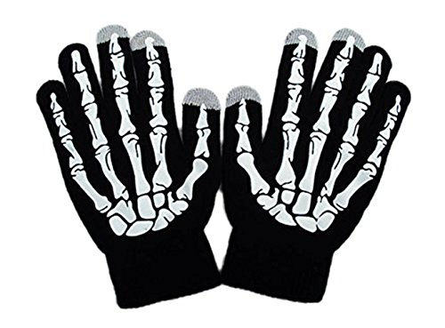 Number One Halloween Costume 2016 (Touchscreen Gloves Winter Warm Skeleton Knit Gloves Suit for Playing IPad Mobile Phones in Winter(Freesize,Black/White))