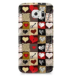 Samsung Galaxy S6 Edge Case Valentine Hearts And Key Love Pattern-Hard Plastic Tough Wrap Around Phone Cover