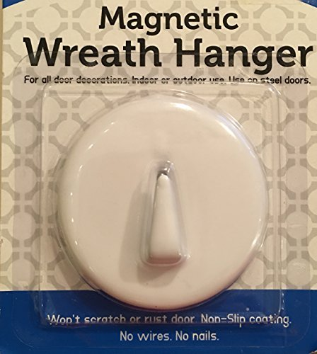 White Magnetic Wreath Hanger Holder Hook - For Steel Doors - No Nails or Wires! Holds up to 6 ()