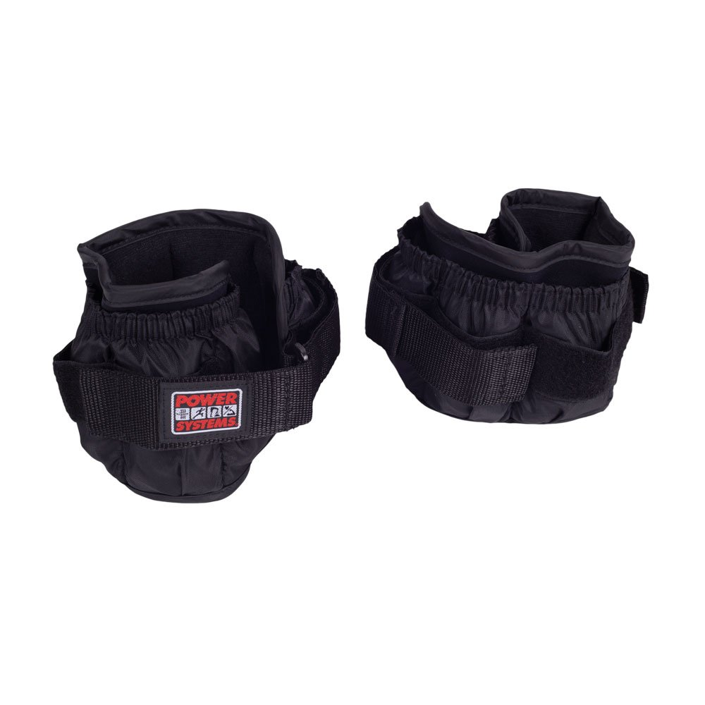 Power Systems Premium Ankle or Wrist Weights, Two Adjustable Cuffs with 5-Pounds of Removable Weights, Black (90575)