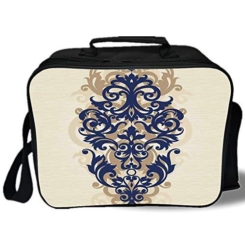 Kitchen Decor 3D Print Insulated Lunch Bag,Classical Baroque Vintage Design Print Victorian Style Brush Kitchenware Oriental,for Work/School/Picnic,Navy Golden Cream ()