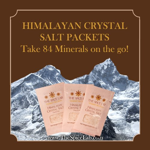 The Spice Lab Pink Himalayan Salt - X-fine 50 Salt Packets - Gourmet Pure Crystal - Nutrient and Mineral Fortified for Health - Kosher and Natural Certified