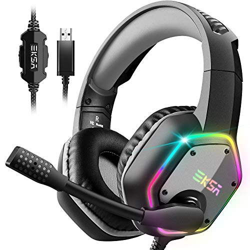 EKSA USB Gaming Headset – PC Headset with 7.1 3D Surround Sound Wired Headset with Noise Cancelling Mic, RGB Light…