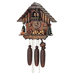 8-Day Black Forest House Wooden Cuckoo Clock in Antique Finish