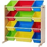 Phoenix Home Lodi Kid's Toy Storage Organizer, Natural with 12 Colorful Plastic Bins