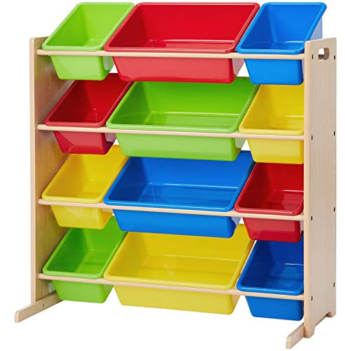 (Phoenix Home Lodi Kid's Toy Storage Organizer, Natural with 12 Colorful Plastic Bins - Red, Yellow, Green, Blue )