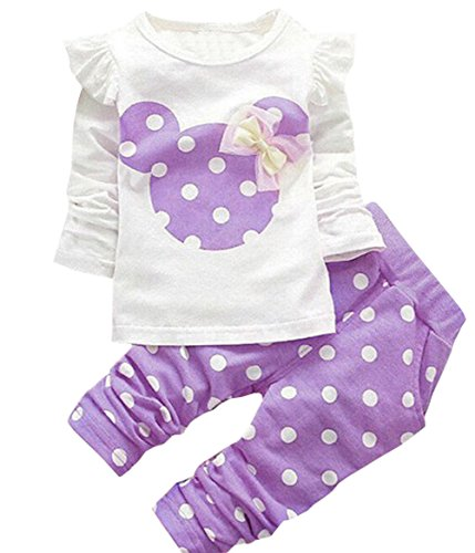 Baby Girls' Toddler Kids Clothes Shirt Top Leggings Pants Outfits(110,Purple) - Girls Polka Dot Clothing