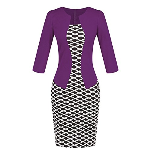 (Birdfly Office Women's Plaid Patchwork Pencil Skirts Formal Working Dress with Three Quarter Sleeve.Plus Size 2L 3L (M, Purple(92)))