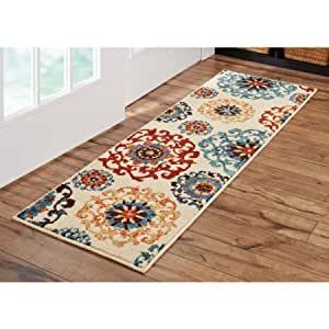 Better homes and gardens 283150 olefin yarn suzani runner rug multi colored 1 39 9 x for Better homes and gardens bathroom rugs