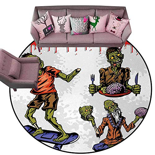 Baby Crawling Area Mats Zombie,Dead Man Eating Brain Cannibal Meditating Skate Boarding Graphic Pattern,Olive Green Red Dust Diameter 48