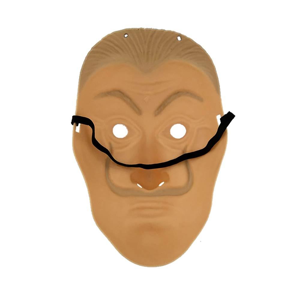 HUPLUE Máscara para Cosplay de Halloween Salvador Dali Original La casa de Papel, de PVC, máscara de Dinero, con película Realista, Large: Amazon.es: Hogar