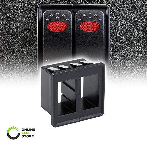 ONLINE LED STORE 2-Slot Rocker Switch Panel [Industry Standard Fit] [Heavy Duty] [Expandable Design] [Professional Look] Automotive Mount Toggle Switch Housing