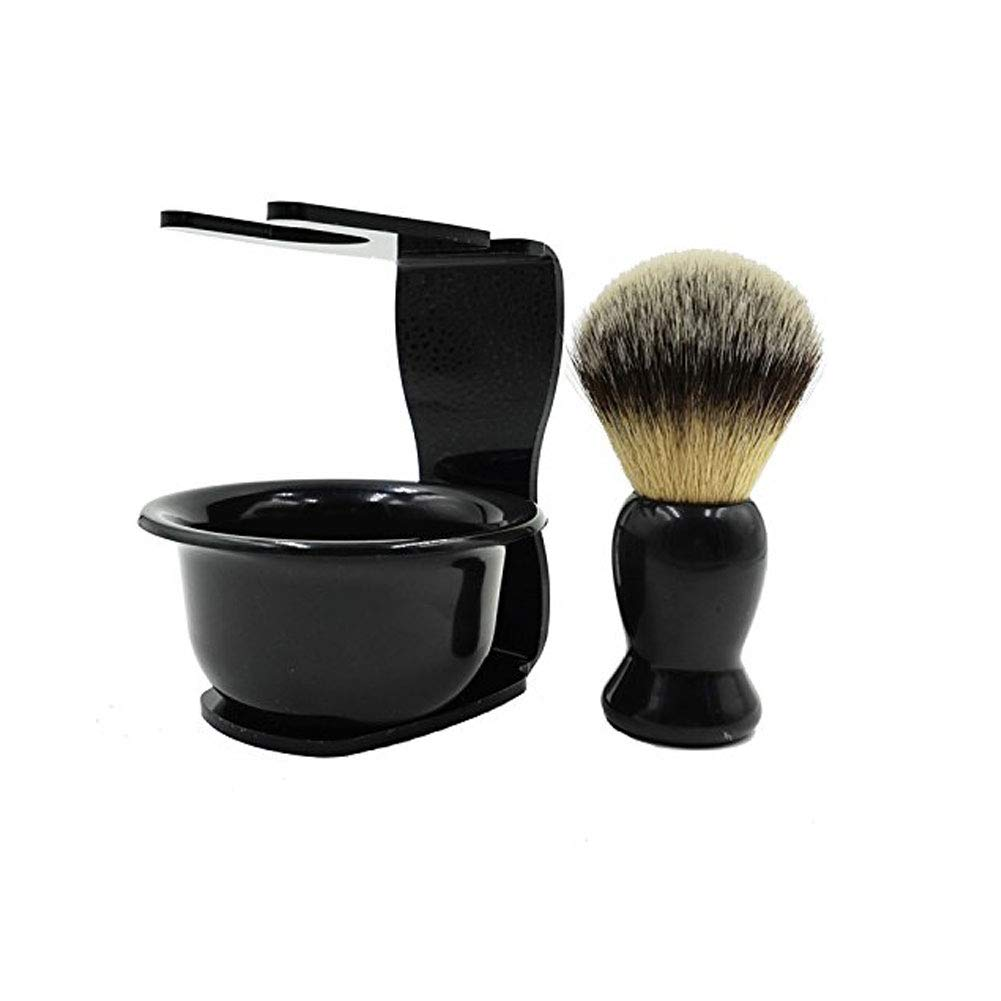 CINEEN 3 In 1 Shaving Brush Kit Hair Shaving Brush + Arcylic Razor Stand + Shaving Soap Bowl Shaving Cleaning Tool