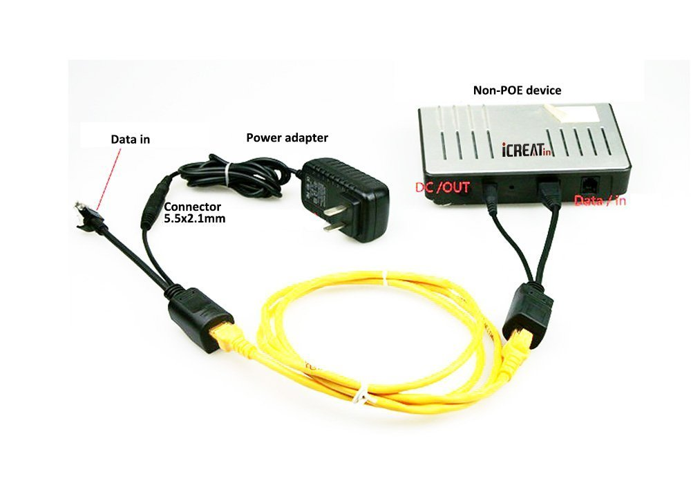 POE Splitter,COOSO Passive POE Splitter 24V to 12V Compatible with Most Switches POE and All Web Cameras