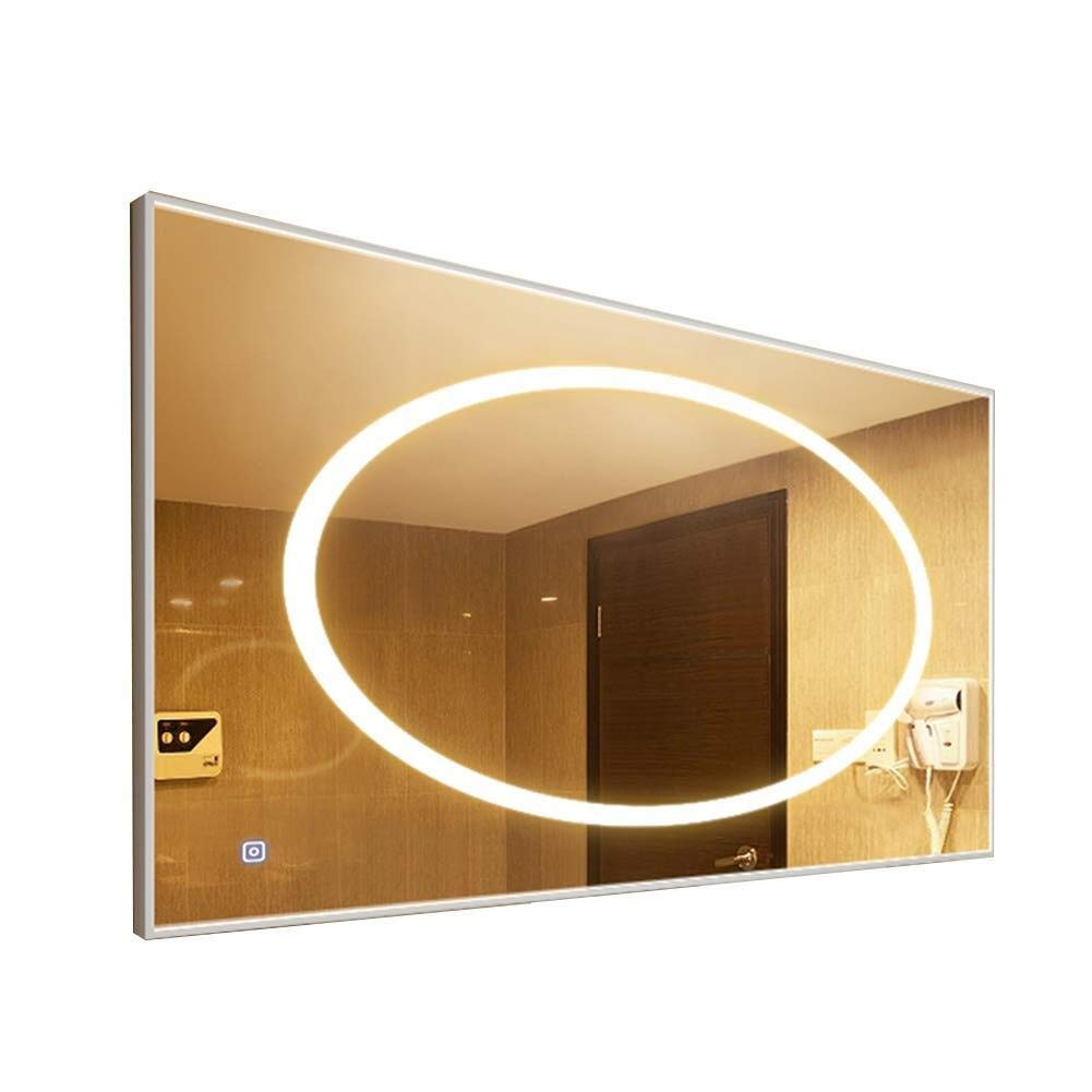 Bathroom Mirror,Bathroom Led Light Mirror Aluminum Frame Bathroom Mirror Bathroom Wall Hanging Bathroom Mirror (Size : 75100cm)