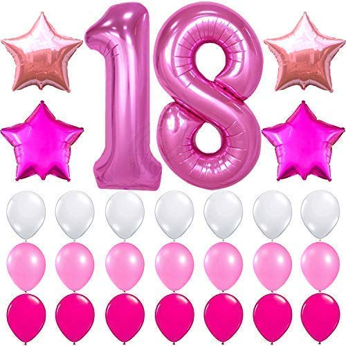 KATCHON Pink 18 Birthday Decorations – Large, Pack of 27 | 18 Balloon Numbers 1 and 8 | Pink and White 18th Birthday Party Supplies Kit for Girls | 18 Year Old Bday | 18 Balloons for 18th Party Decor -