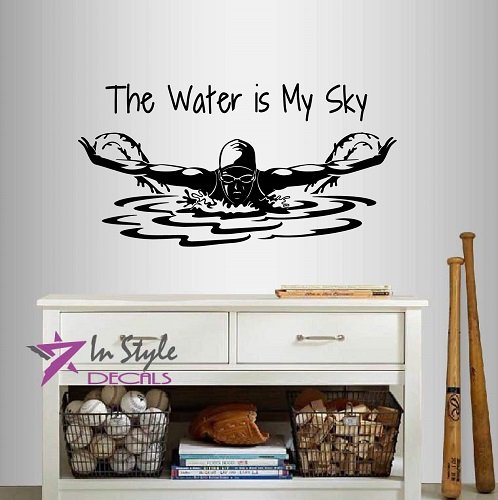 Wall Vinyl Decal Home Decor Art Sticker The Water is My Sky Phrase Quote Swimming Girl Woman Swimmer Butterfly Swim Water Sport Sportsman Room Removable Stylish Mural Unique Design